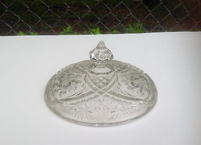Vintage Clear Cut Glass Decanter/Bottle Lid -Replacement Lid Only-