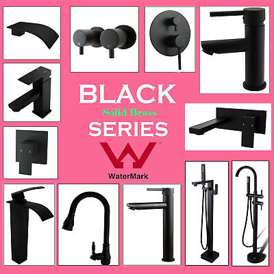 Black Freestanding Wall Bathroom Spout Kitchen Basin Shower Mixer  1/4 Turn Taps