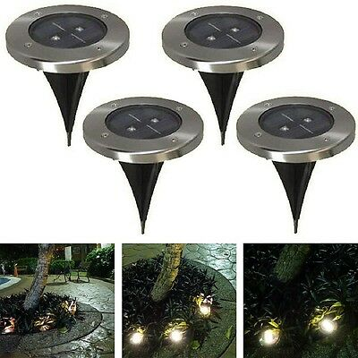 4 Solar Powered LED Buried Inground Light Garden Outdoor Pathway Path Lawn Lamp