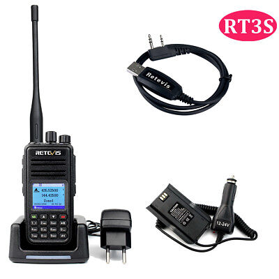 Digital Wallkie Talkie Retevis RT3 UHF DMR CTCSS/DCS 5W+Car Eliminador+Cable+Mic