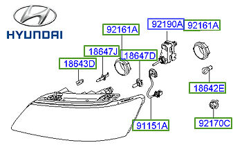 Genuine Hyundai Sonata Headlight LH Passenger - 921013K080