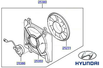 Genuine Hyundai Sonata Radiator Fan - 2538038001