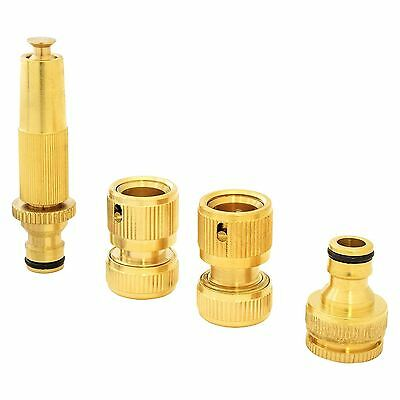 Hose Pipe Connections Brass Quick Fitting Spray Nozzle Garden Tap Quality Set