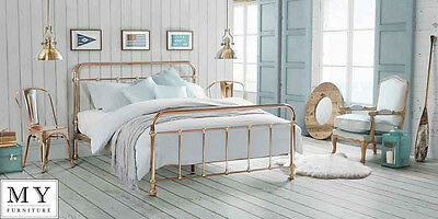 Copper and Brass Dormitory Style Double Bed 4ft6 Double / 5ft King Size- MARTINO