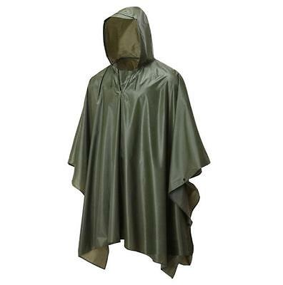 GENTS WATERPROOF OLIVE PONCHO lightweight hooded camping hiking festival jacket