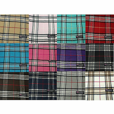 Men Women unisex 100%CASHMERE Classic Scarf tartan stripe Plaid Wool SCOTLAND