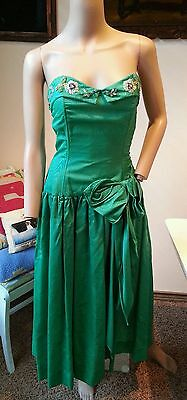 Vtg 50's Green Beaded Sequin Pearls Rhinestone Floral Prom Party Dress