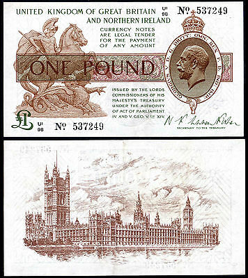 England Treasury 1 Pound (T34) Warren Fisher U/1 Ef