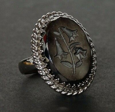 Vtg Signed Whiting & Davis Co Silver Hematite reverse carved Flowers Ring sz 8