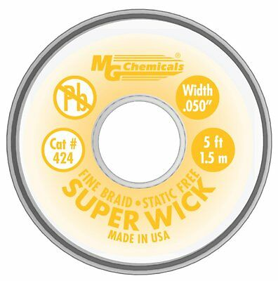 MG Chemicals 400 Series #2 Fine Braid Super Wick with RMA Flux, 5-Feet Length X