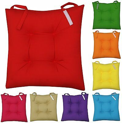 New Colourful Seat Pad Dining Room Garden Kitchen Chair Cushions Tie