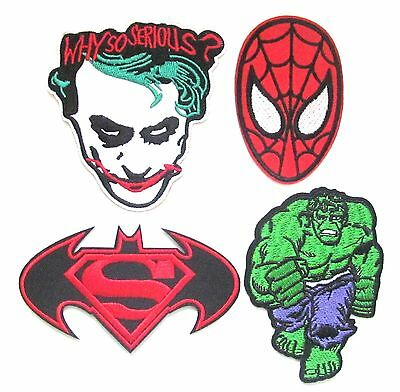 Superhero Iron On Patch- Batman Hulk Spiderman Superman Embroidered Badge Crafts