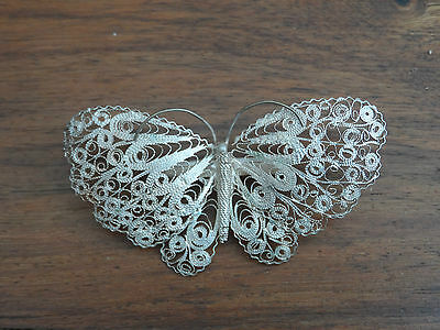 GORGEOUS VINTAGE SILVER LARGE FILIGREE BUTTERFLY BROOCH 6.94gr