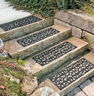 Outdoor DECORATIVE RUBBER STAIR TREADS NON SLIP Deck Patio SET OF 4 NEW