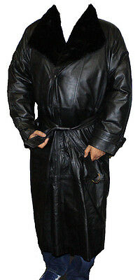 Mens Genuine Cow Leather Trench Coat Full Length Zip out Lined Zipper closure ~~
