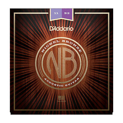 DAddario NB1152 Nickel Plated Bronze Custom Light Acoustic Guitar Strings 11-52