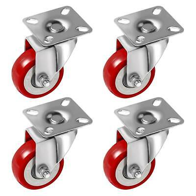 4 Pack 2 Inch Caster Wheels Swivel Plate On Red Polyurethane Wheels PU