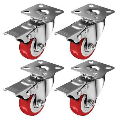 "4 Pack 2"" Caster Wheels Swivel Plate Total Lock Brake Red Polyurethane PU"