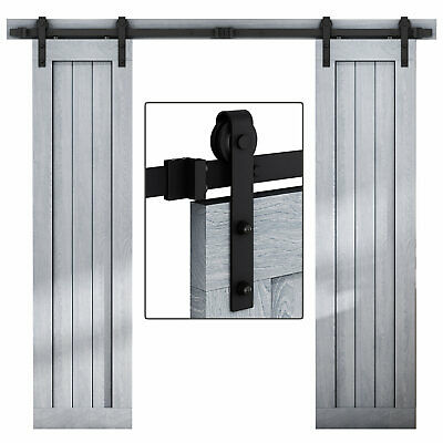 Country Double Sliding  Barn Door Hardware System Track Kit