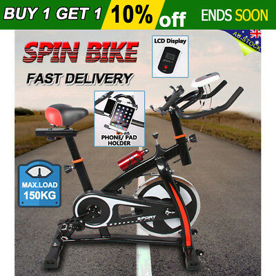 New Heavy Flywheel Exercise Spin Bike LCD Display Home Gym Fitness Pulse Monitor