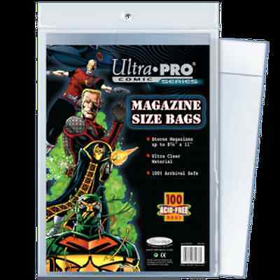 """Comic Bags 100 Count Magazine Size [NEW] Ultra Pro Clear Poly 8-5/8""""x10-15/16"""""""