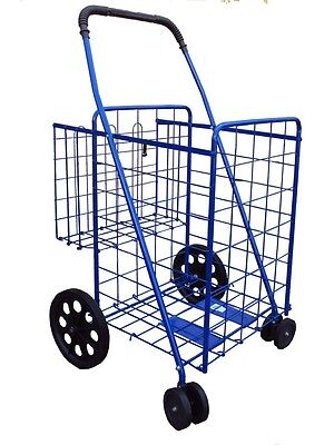 grocery folding shopping cart extra basket jumbo size swivel wheel color  blue
