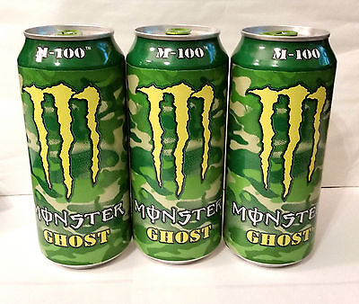3, 16oz Cans of the Brand New Monster Energy Drink M-100 GHOST