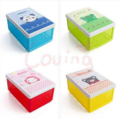 Plastic Folding Storage Container Basket Crate Box Stack Foldable Cartoon Cover
