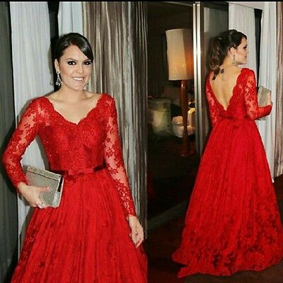 2015 Red Lace Long Sleeve Mother of the Bride Dress Evening Gown Party Custom