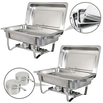Chafing Dish (set of 2) of 8 Quart Stainless Steel Tray Buffet Catering warming