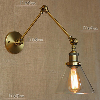 20TH C. Library Double Sconce Swing Arm Wall Lamp Antique Brass Glass Light