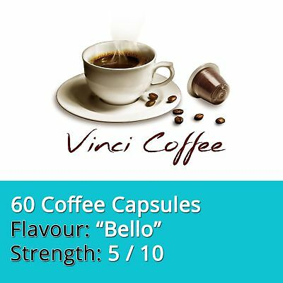 60 x Nespresso Compatible Coffee Capsules Mild Strength BELLO Coffee Capsules
