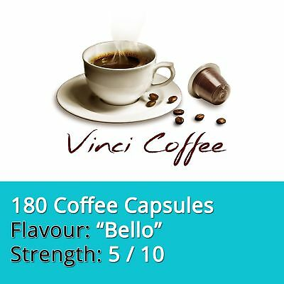 180 x Nespresso Compatible Coffee Capsules Mild Strength BELLO Coffee Capsules