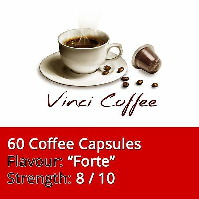 60 x Nespresso Compatible Coffee Capsules Medium Strength FORTE Coffee Capsules