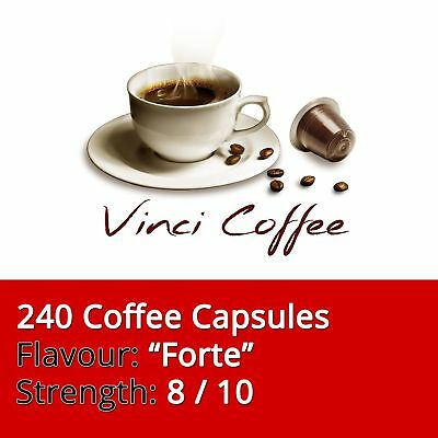 240 x Nespresso Compatible Coffee Capsules Medium Strength FORTE Coffee Capsules