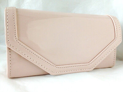 2217e6ea1f New Flesh Nude Faux Patent Leather Evening Day Clutch Bag Wedding Prom Party