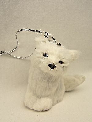 Sitting White Fox Soft Furry Body Christmas Tree Ornament 3 In String to Hang