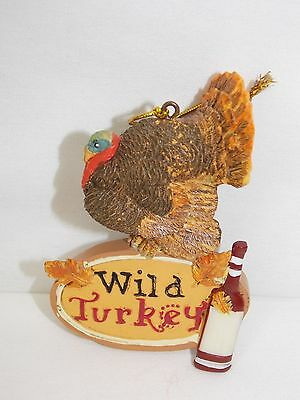 "Turkey w/Sign""Wild Turkey"" with Whiske Bottle Christmas Tree Ornament 4In String"