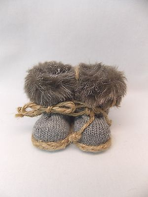 Snow Boots Fuzzy Fur Top Figurines Christmas Tree Ornaments  2 Inch tall