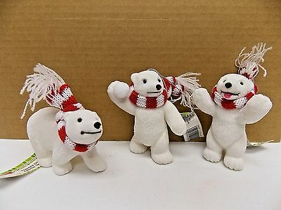 Polar Bears Set of 3 Fuzzy Fur Red/White Scarf  Christmas Tree Ornament  New Tag