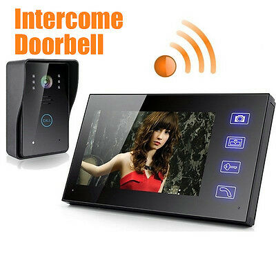 "7"" LCD Wireless Video Door Phone Doorbell Intercom Monitor Home Security"