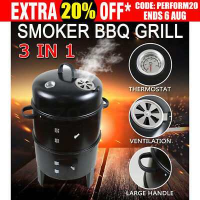 3in1 Portable BBQ Charcoal Grill Barbecue Smoker Roaster Steel Outdoor Cooking