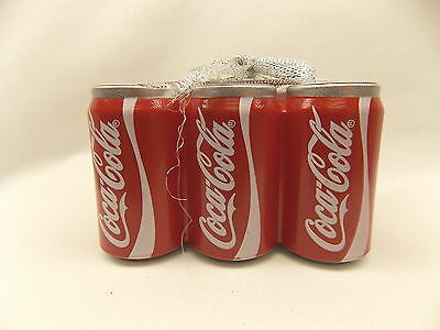 Coca-Cola Six Pack Cans Christmas Tree Ornament Resin Material 3 x 2 x 2 Inch