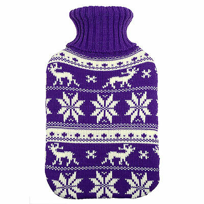 Hot Water Bottle With Knitted Purple Reindeer Design Cover Great Christmas Gift