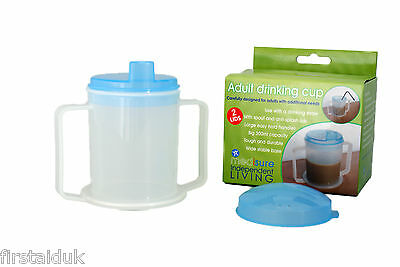 Adult Drinking Cup 300ml with Two Lids, Drinking Straw or Spout FREE P&P
