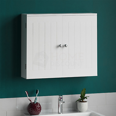 Priano Wall Cabinet 2 Door White Storage Organiser Mounted Cupboard Bathroom