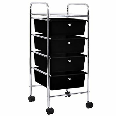 4 DRAWER TROLLEY Portable Storage Cart Rack Chest Unit Shelves Tray Black Chrome