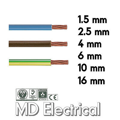 Single Core Conduit Cable 6491X Blue Brown Earth Yellow Green Wire 1.5 2.5 4 mm