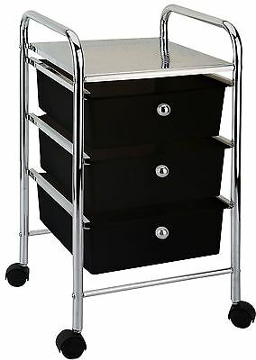 3 DRAWER TROLLEY Portable Storage Cart Rack Chest Unit Shelves Tray Black Chrome