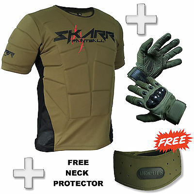 BRAND NEW! Skarr Paintball Body Armour + Den-Ops Spearhead Gloves Package OLIVE
